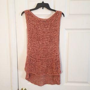 Zara Chunky Open Knit Sleeveless Hi Low Hem Top S